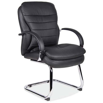 Indulge collection executive guest chair in black bonded leather with chrome frame