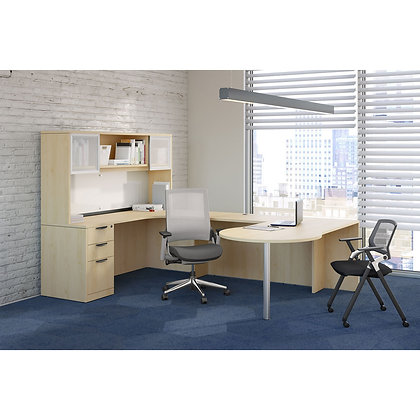 executive U shaped desk with hutch left side in maple finish typical os155