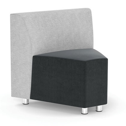 integrate collection armless corner chair with silver post legs