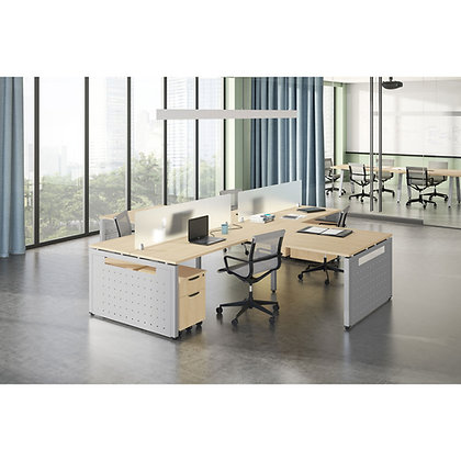 variant collection set of 4ea open area workspaces with privacy screens