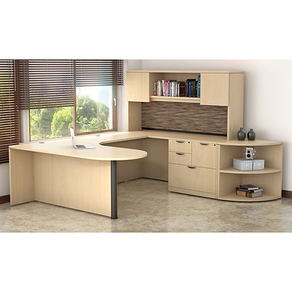 executive U shaped desk with hutch and side corner bookcase right side in maple finish typical os28