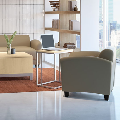 C shaped laminate top side table with metal frame in silver finish