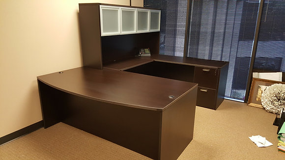 6' x 9' x 6' cherryman amber series laminate executive U shaped desk with hutch in dark espresso finish
