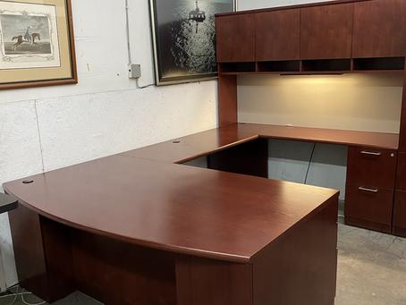 Steelcase executive U shaped desks with hutch