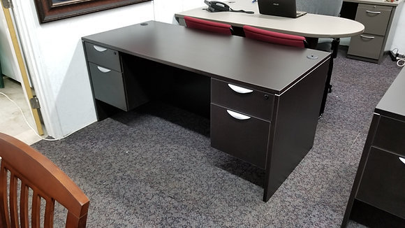 "new 30"" x 66"" laminate double pedestal desk in dark espresso finish with lock and keys"