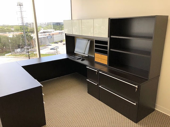6' x 8.5' x 9' cherryman verde series laminate executive u shaped desk with hutch and side cabinet in dark espresso finish