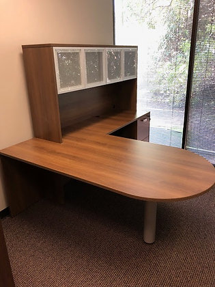6' x 7' cherryman amber series laminate executive bullet shaped front L shaped desk with hutch in walnut finish