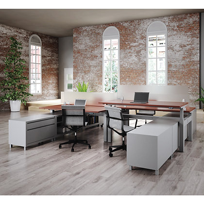 stand up collection set of 4ea. work spaces with storage and privacy screens