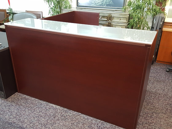 6' x 6.5' cherryman amber series full pedestal reception L shaped desk with glass transaction top in mahogany finish