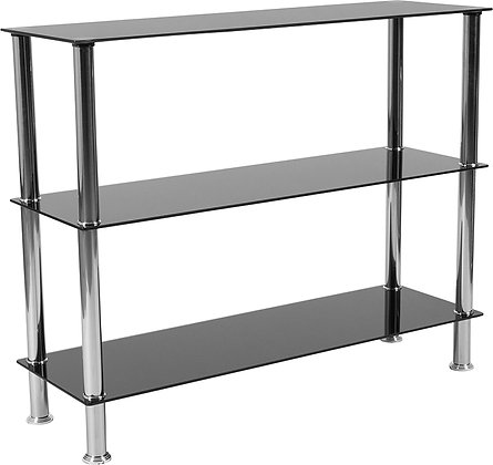 3 shelf glass bookcase with chrome accents