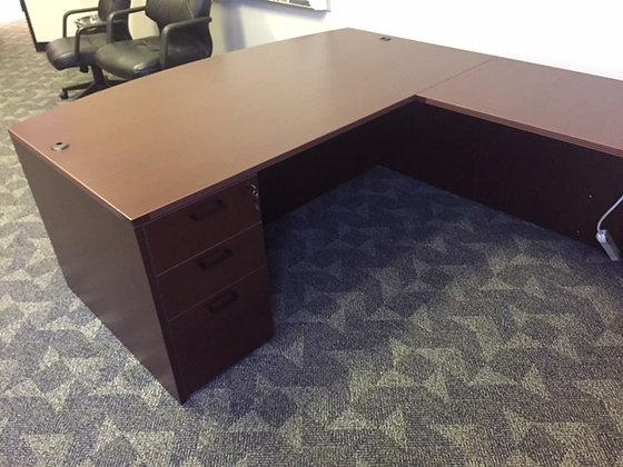 6' x 9' x 6' cherryman amver series executive bow front  U shaped desk in mahogany finish