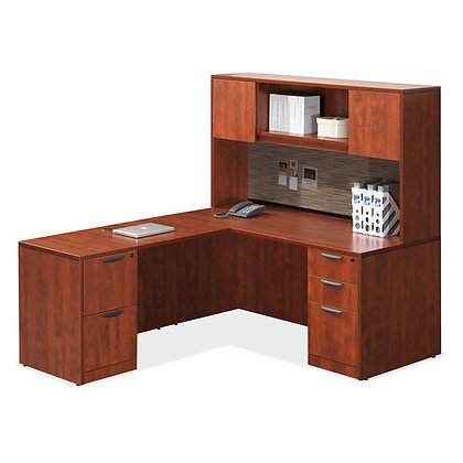 os laminate collection L shaped desk with hutch in cherry finish typical os86