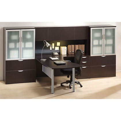 new executive office set up with hutch and side cabinets in espresso finish