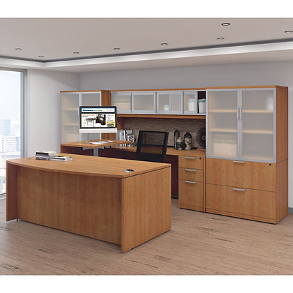 laminate executive U shaped desk with hutch and adjustable height sit to stand bridge with side cabinets in honey finish