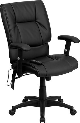 mid back ergonomic massaging chairs in black leather