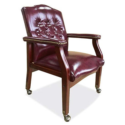 lancaster collection traditional guest chairs with tufted back on casters black or oxblood with wood mahogany frames