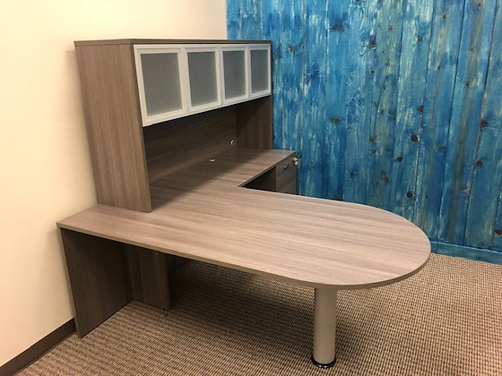 6' x 7' cherryman amber series bullet front L shaped desk with hutch