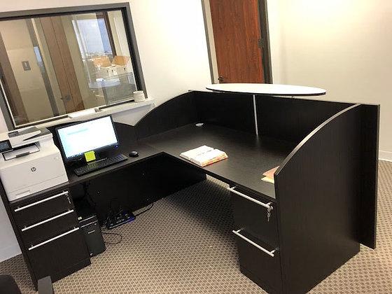 7' x 6.5' cherryman verde series laminate reception L shaped desk with oval grass transaction top in dark espresso finish