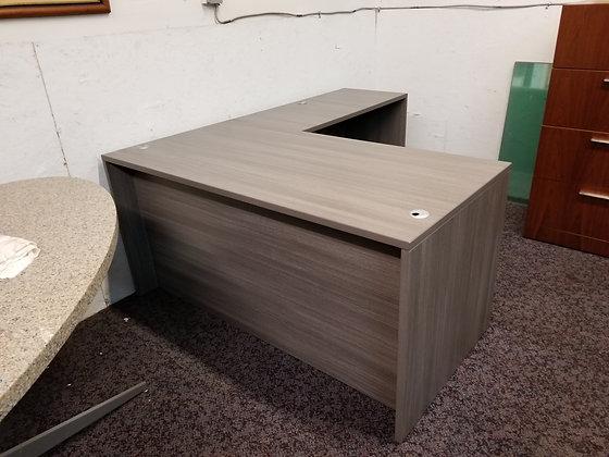 5' x 6' cherryman amber series single pedestal laminate L shaped desk in gray finish
