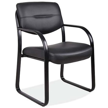 merit collection black vinyl guest chairs with black metal frame