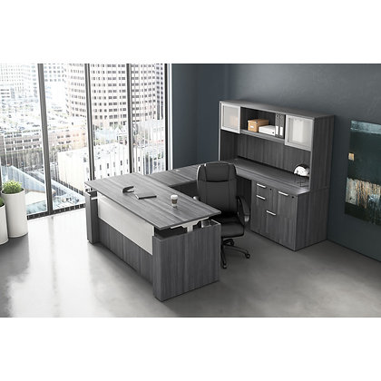 stand up collection executive U shaped desk with hutch with adjustable height front desk
