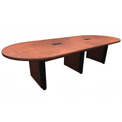 office source 10' laminate racetrack shaped conference table with wire grommets and elliptical base