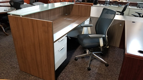 office source 2 tone laminate double pedestal reception desk with glass transaction top in white and walnut finish