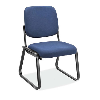 value collection armless guest chairs with sled base in navy blue fabric