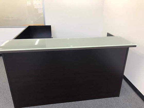 6' x 6.5' cherryman amber series reception L shaped desk with glass transaction top and 2 hanging pedestals in dark espresso