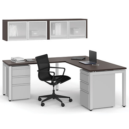 variant collection double pedestal L shaped desk with overhead storage cabinets