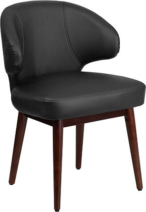 black leather guest chairs with wood legs