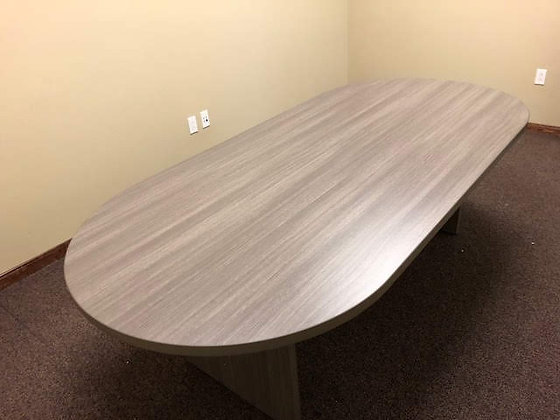 8' cherryman reacetrack shaped conference table in gray finish with matching base
