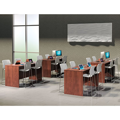 os laminate collection set of 4 counter height desk shells in cherry finish typical os130