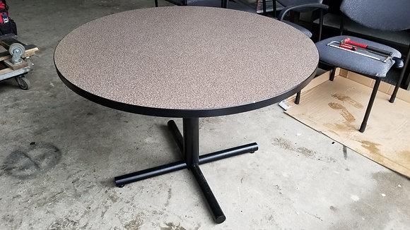 "Versteel 42"" diameter folding laminate round tables with black folding metal base"