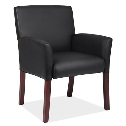 bowery collection retro style guest reception chairs black or gray with wood legs