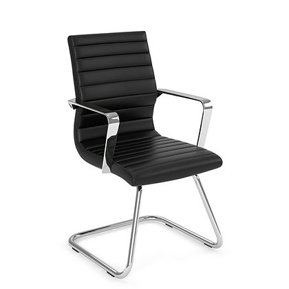 tre collection executive black leather guest chairs with sled base and chrome frame