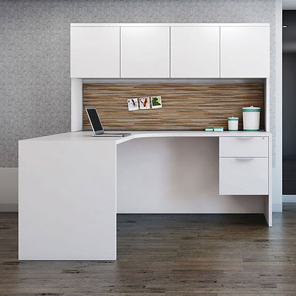 corner l shaped desk with hutch laminate in white finish typical os96