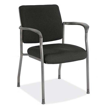 advance collection guest or stack chairs with black fabric and titanium finish frame