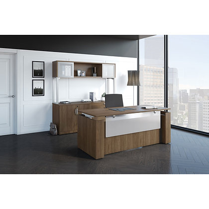 stand up collection executive desk and credenza set with hutch with ergonomic seat to stand desk in walnut finish