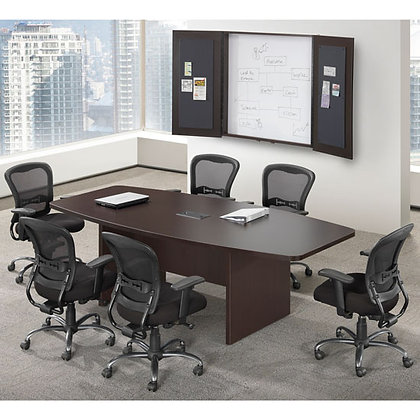 6' boat shaped conference table in dark espresso finish, available in 8 finishes