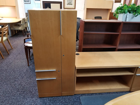 steelcase wood personal cabinets with lock in maple finish