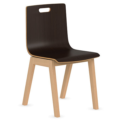 wood brake room guest chairs with hole in the back