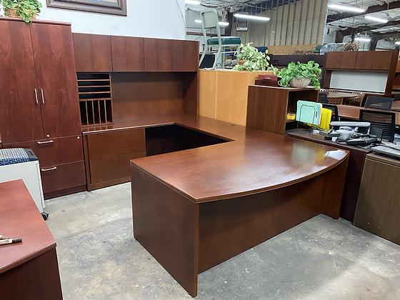 Executive U shaped desks with hutch