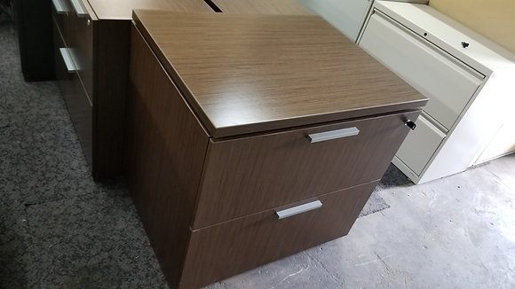 teknion laminate 2 drawer lateral file cabinet with lock in walnut finish