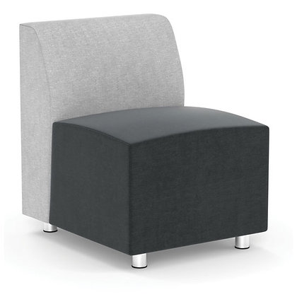 integrate collection armless modular chair with silver post legs
