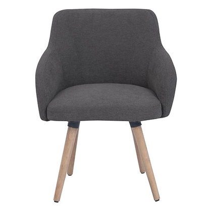 newton collection reception seating guest chairs in light gray fabric with wood legs