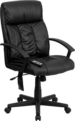 high back ergonomic massaging executive chair in black leather
