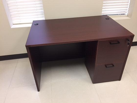 "30"" x 48"" cherryman amber series laminate single pedestal desk un mahogany finish"