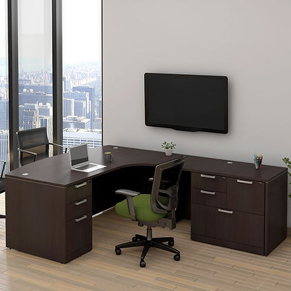 os laminate collection executive L shaped desk right side in espresso finish typical os112