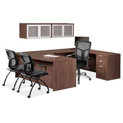 os laminate collection executive u shaped desk with overhead storage cabinets in walnut finish typical os30